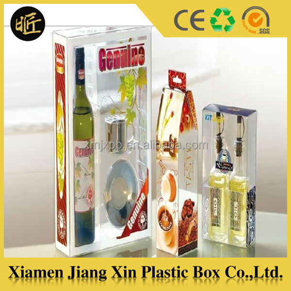 Clear Plastic Bottle Box for Wine Packaging