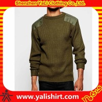 Custom winter warm slim fit crew neck patch splice cotton/polyester sweater designs pictures