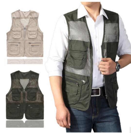 100% Cotton Grid Multi Pockets Plus Size Father Men Fly Fishing Vest