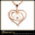 simple design heart necklace, 925 silver pendant with cz