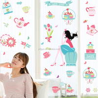 Hot sales creative removable cartoon cutlery princess lovely kitchen sticker for kitchen tiles decoration
