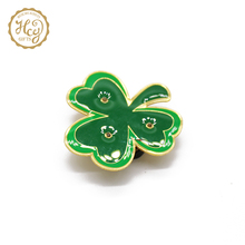 Green Color Flower Shape Metal Pin For Badge