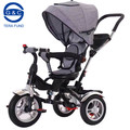 Easy foldable 3 wheel baby tricycle with canopy and strong push bar