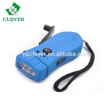 Lighting,alarm and radio three functions hand crank rechargeable flashlight wholesale