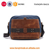 Fashion Genuine Leather Canvas Messenger Bag For Men Single Shoulder Bag