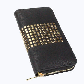Yiwu bag pure color faux leather woman 12 card holder slots zip arpund wallet with studded rivets
