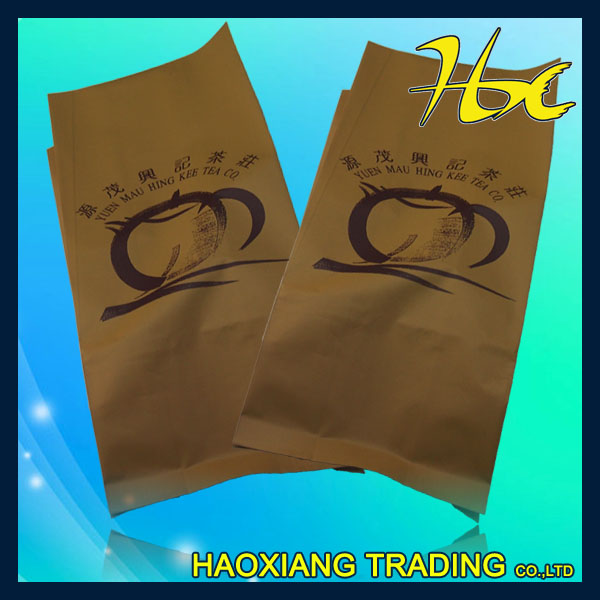3 side seal side gusset plastic lined kraft paper bag