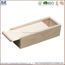 high quality small unfinished arts mind wooden box with slide lid