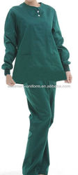 short sleeves100% cotton laboratory nurse gown,medical lab gown,hospital green lab coat