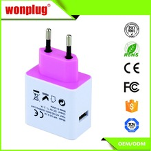 EU type Plug Universal Travel wall Charger with DC 5V 2.1A