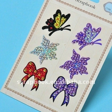 New design man-made flowers butterfly and flower diamond sticker for customized
