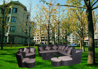 New style garden treasures outdoor furniture synthetic rattan curved sofas AWRF6062A-2