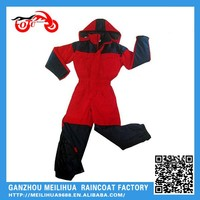 Red/black polyester 1 pcs rain suit for motorcycle