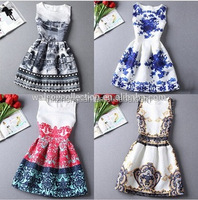 Hot sale Brand New 2015 Summer dress, Fashion A-Line women vintage party dresses printing sleeveless Vestidos casual dress