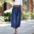 Fashion new designs casual girl long denim skirt