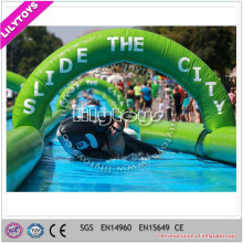 Creative amusement green inflatable city slide/slide for lane/standard pvc slip n slide