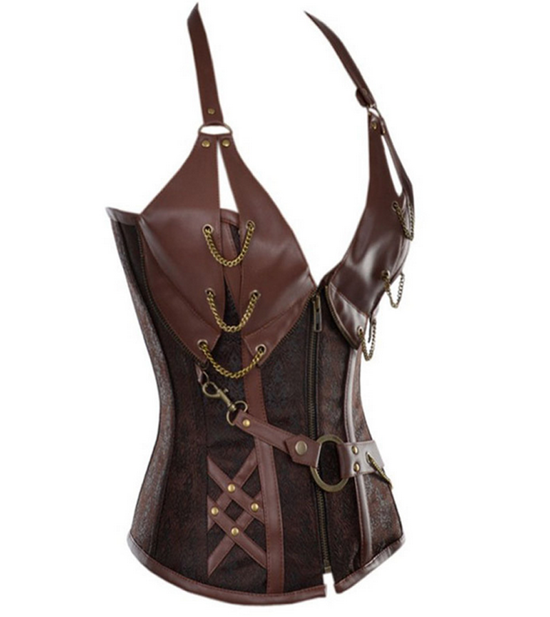 Wholesale Women Punk Rock Faux Leather Corset  Basque Waist Cincher Bustier Lingerie