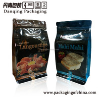 Danqing printed Plastic quad seal flat bottom food bag with zipper, customized for frozen seafood,meat