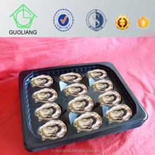 Vacuum Formed Food Grade 31.5x26cm Round Rectangular Black PP Plastic Oyster Trays For Sale