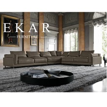 American Contemporary Style 2017 New Living Room Furniture High Class Genuine Leather Sectional Sofa Sets Design from Guangdong