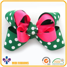 St. Patrick's Day Fancy Polka Dot Big Hair Bow Clip Ribbon Hair Accessories