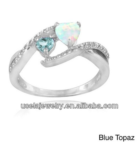 925 Sterling Silver Created Opal. mystic Blue Topaz and Diamond Heart Ring opal wedding rings