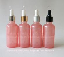 Wholesale 50ml pink glass liquor dropper bottle with high quality