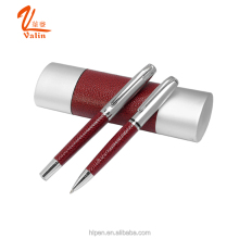 China manufacture metal ball pen in leather,good choice for promotion