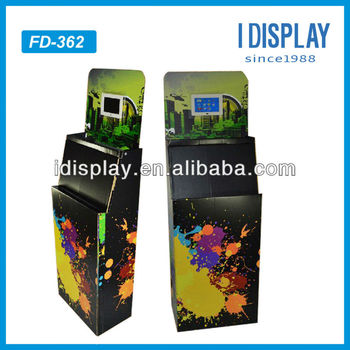 Creative Pop Cardboard Floor Display With Lcd Screen Video Player Cardboard Display