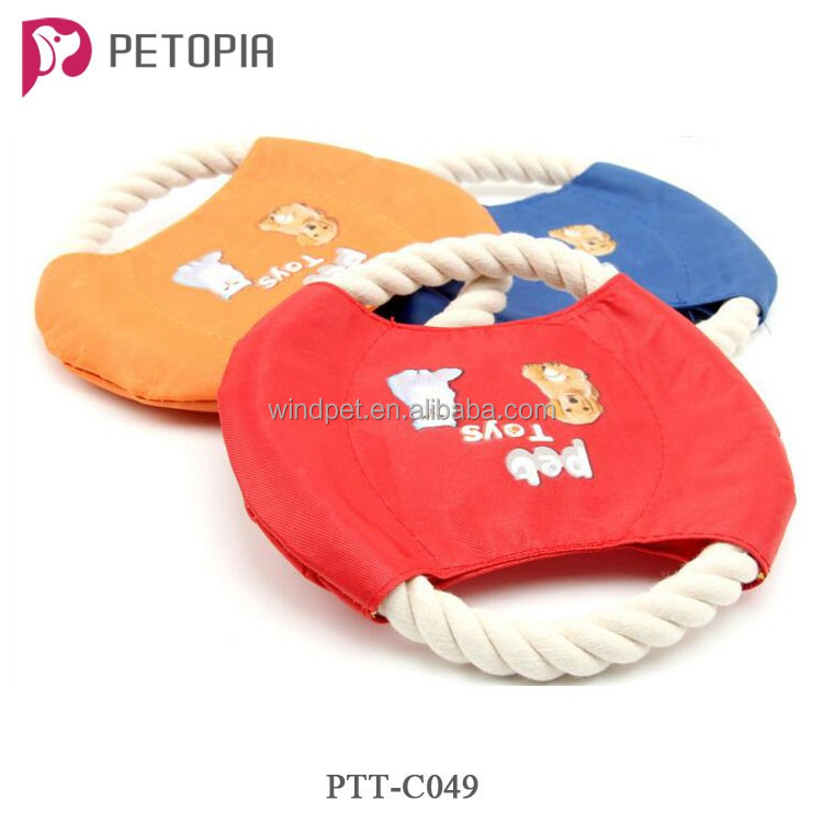 Fabric Cotton Rope Pet Dog Training Playing Flying Disk Frisbee Toys