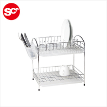 Factory sale 2 layer metal dish drainer rack,dish drying rack,kitchen dish rack