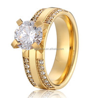 new private design luxury 18k gold plated surgical stainless steel vintage wedding engagement rings for women