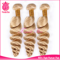 cheap and high quality mongolian virgin loose curly hair 100 human sew in hair extensions blonde