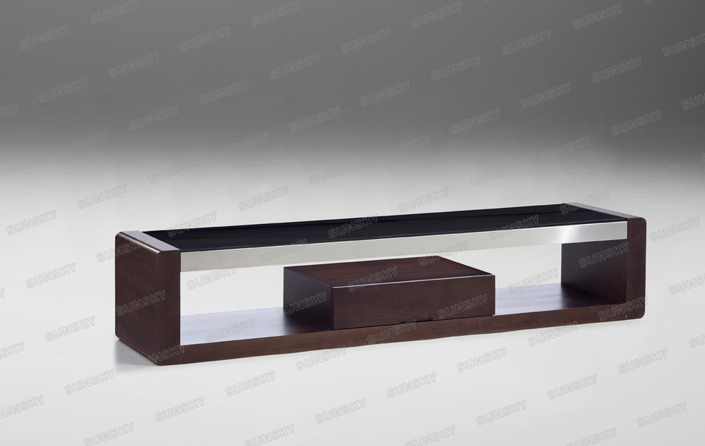 High quality home furniture Unique tempered black glass wooden long MDF modern tv stand 672D-F