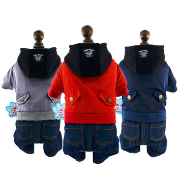 S64866B New dog clothes autumn winter hooded jacket four-legged cotton coat