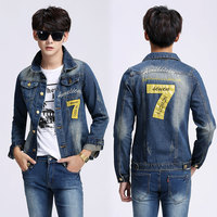 The new 2015 spring new men's denim jacket denim clothing wholesale clothing for men code