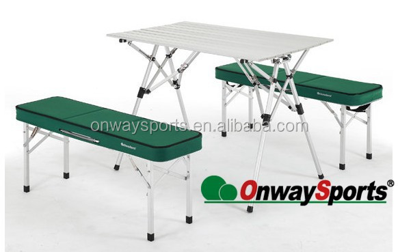 Easy carry portable aluminum folding Family Picnic Table with Two Bench