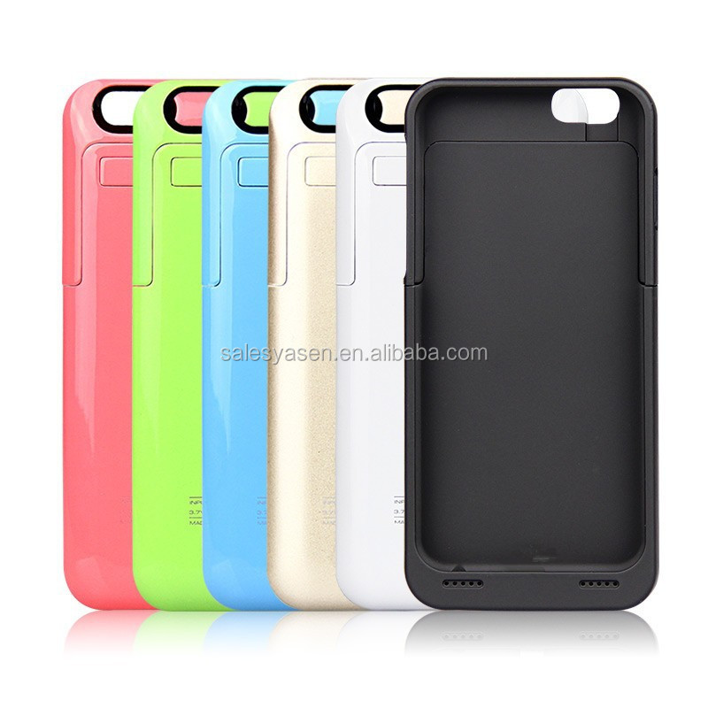 Colorful 3500mah external charger battery case for iPhone 6 with/wo leather flip cover