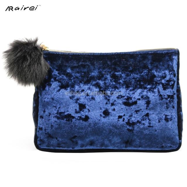 new product blue velvet clutch cosmetics bag makeup bag
