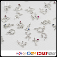 Own Design Chain Diamond Gemstone Alphabet Charms Pendant in 18K White Gold Wholesales