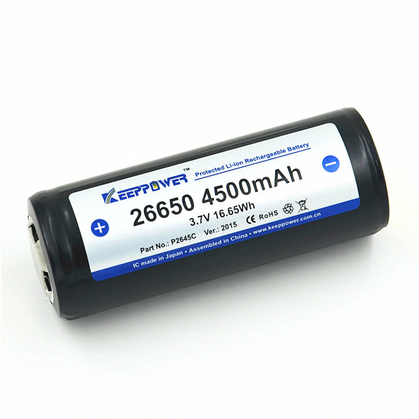 KeepPower 3.7v 4500mAh P2645C rechargeable battery 26650 li-ion batteries