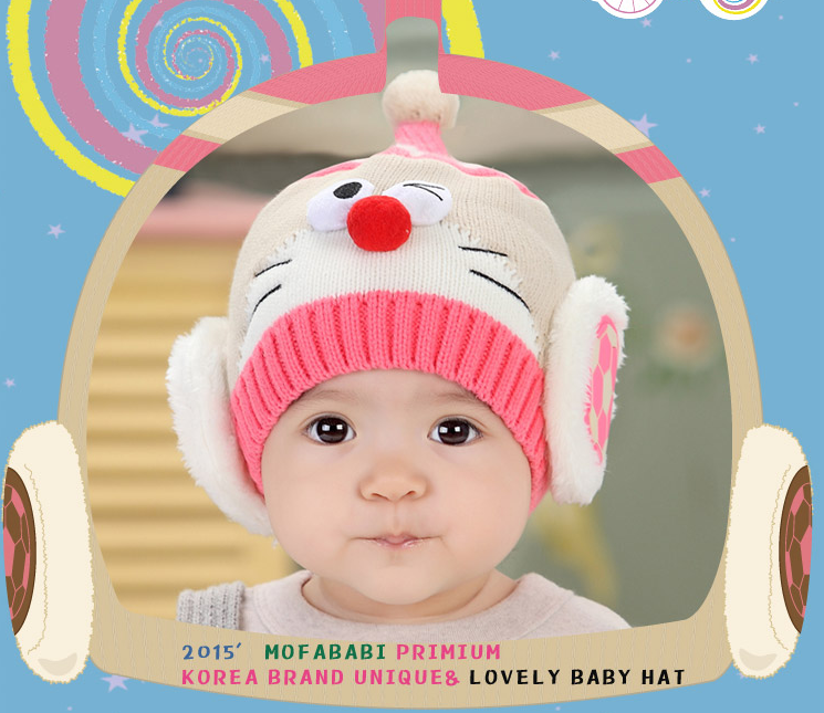 Cartoon Winter Lovely Knitted Baby Ear muff Hat