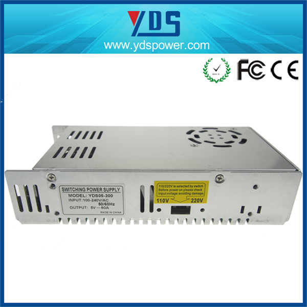 YDS5-300 high quality single output voltage 5v dc 60a 300watts switching mode power supply (smps)