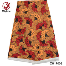 African wax pattern design digital printed <strong>polyester</strong> Chiffon fabric for dress