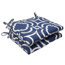 Set of 2 geometric navy sky blue outdoor squared patio seat cushions vinyl outdoor cushions