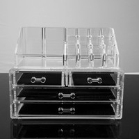 Factory Clear Makeup Nail Polish Organizer Rack,Counter Acrylic Cosmetic Makeup Storage Organizer With 4 Drawers 20 Sections