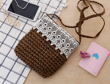 New 2016 Hot Selling Natural Material Wheat Straw Lady small Beach Bag