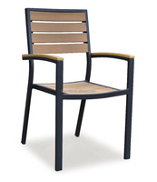 Commercial Restaurant Indoor/Outdoor Synthetic Teak And Aluminum Dining Chair (PWC-15605)
