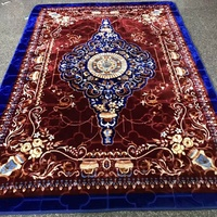 Cheap Plush Floral Printed Carpet Rug 100% Raschel Thick Super King Size Mink Blanket Carpet
