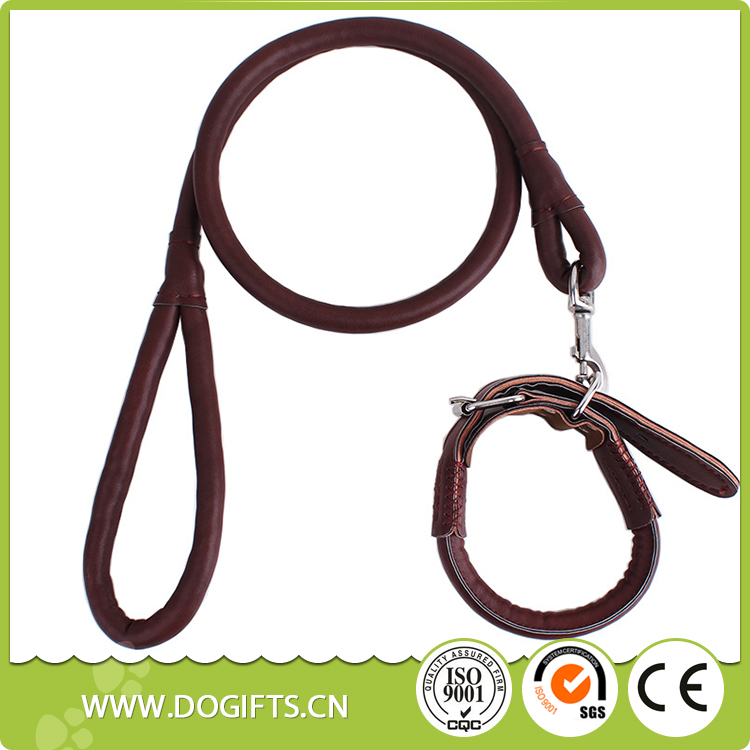 Cattle Smooth Leaf Traction Rope Large Dog Collar Leather Dog Leashes and Collars Dogift0373